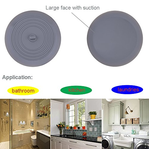 V-TOP Tub Stopper 2 Pack, 6 inches Large Silicone Drain Plug Hair Stopper Flat Suction Cover for Kitchen Bathroom and Laundry