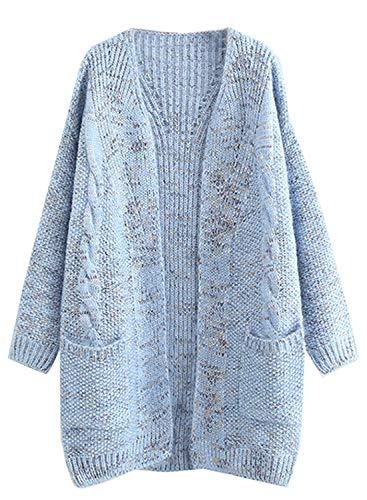 futurino Women's Cable Twist School Wear Boyfriend Pocket Popcorn Sweaters Open Front Cardigan Blue