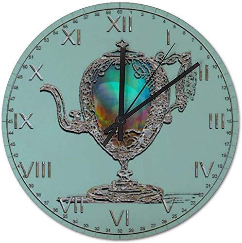 FCXBQ Reloj de Pared silencioso sin tictac de 25 CM, Reloj Redondo de PVC con Tetera Victoriana, fácil de Leer, Relojes para el hogar, la Oficina, la Cocina y la Escuela