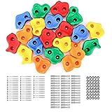 WADEO 20 pièces Prises d'escalade Mixtes, kit débutant pour Enfants, Texture de Roche pour Mur intérieur/extérieur coloré