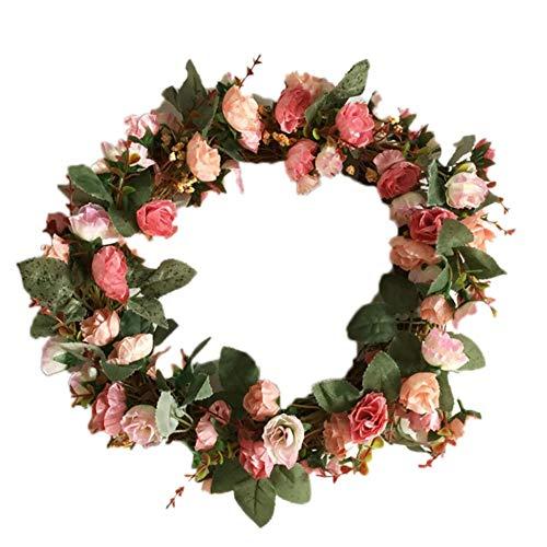 Cxssxling Corona de mimbre de Navidad para colgar accesorios para puerta, anillo de decoración, guirnaldas de pared, jardín, boda, chimeneas, festivales, flores rojas y blancas