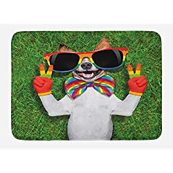 Ambesonne Pride Bath Mat, Funny Face Gay Dog Lying on Grass Peace Signs and Giant Sunglasses Humor Print, Plush Bathroom Decor Mat with Non Slip Backing, 29.5 X 17.5, Green White