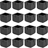 Chair Leg Floor Protectors Chair Leg Caps 1 1/4' to 1 3/8' Square Table Chair Feet Protectors with Felt Pads, Color Black (16 Pack)