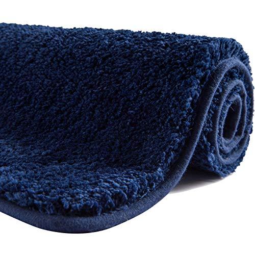 SFLXO Badematte 80cm x 50cm rutschfest-Badvorleger Maschinenwaschbar Anti-Rutsch Badteppich Weich Wasserabsorbierende Badematten Flauschige Mikrofaser Badezimmerteppich Marineblau Mehrweg