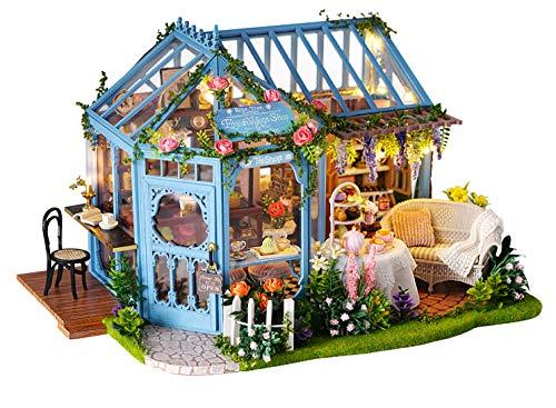 Flever Dollhouse Miniature DIY House Kit Creative Room with Furniture for Romantic Artwork Gift-Rose Garden Tea House