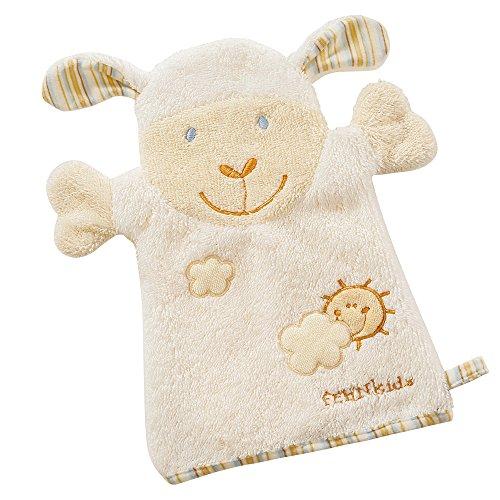 Fehn 397482 Waschhandschuh Schaf / Waschlappen mit Tiermotiv für fröhlichen Badespaß, für Babys und Kinder ab 0+ Monaten