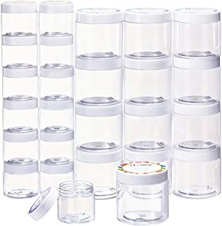 Empty 24 Pack Slime Containers with Water-Tight Lids, 12 6oz and 12 2oz Plastic Storage Jars with Labels for Slime Making, Food, Beauty Products, Beads, Pills by SGHUO