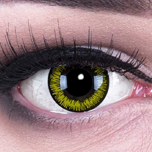 Farbige gelbe Kontaktlinsen crazy Kontaktlinsen crazy contact lenses Yellow Lunatic Kontaktlinsen 1 Paar perfekt zu Fasching, Karneval und Halloween. Mit Kontaktlinsenbehälter