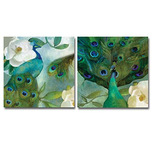 Flduod dier pauw en bloemen canvas schilderij schilderij kunst aan de muur poster en prints foto huisdecoratie voor de woonkamer 40x40cm