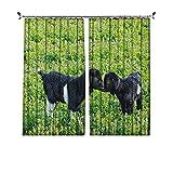 90% cortinas opacas de animales, ovejas con naturaleza colinas de jardín, flores de lavanda, cortinas plisadas para dormitorio, sala de estar, ancho 172 x largo 84 pulgadas, verde helecho negro