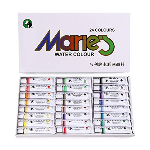 MEGREZ Marie's Watercolor Paint 24 Assorted Colors/Set Water Color Tube for Students, Beginners,Kids, Artist and Painting Lovers, 12ml (0.42 oz) / Tube