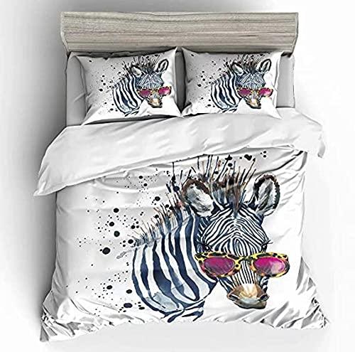 HUA JIE Juego de Funda nórdica de Cebra Zebra con Gafas de Sol Rosadas Animales Salvajes Acuarela Tema Hippie Puntos 3 Piezas Juego de Cama
