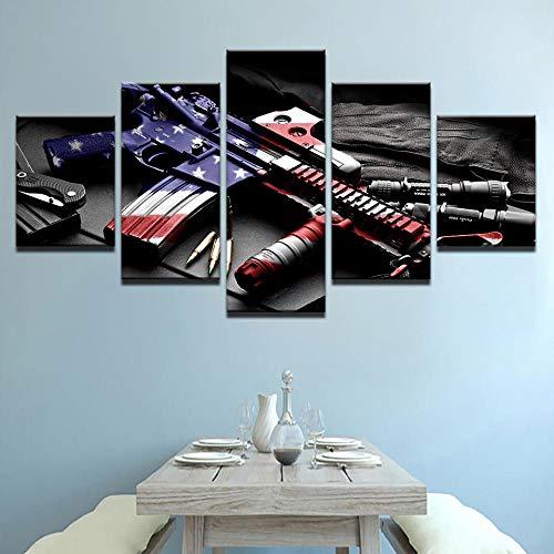 YIWANGQINGSHEN Lienzo HD Imprime imágenes para el Arte de la Pared de la Sala de Estar 5 Piezas Pistola Abstracta con Pintura de la Bandera Americana Cartel de decoración del hogar