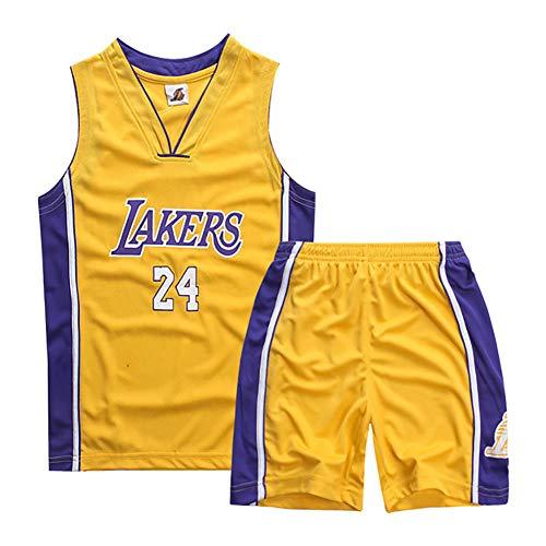 Kinder-Basketballuniformen, Lakers No. 24 Kobe-Basketballtrikots, Jungen- und Mädchenwesten und Shorts, atmungsaktive und schnell trocknende Trainingsuniformen, Sweatshirts-Yellow-XXS