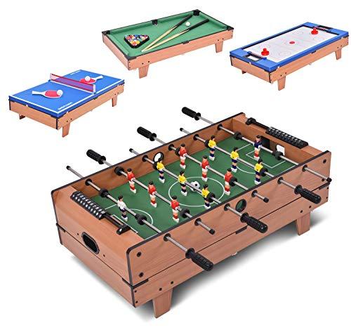DREAMADE Multifunktionaler Spieltisch, Tischkicker aus Holz, TischfußballKickertisch für Erwachsene & Kinder, Stapelbarer Billardtisch Hockey Tischtennis 4 in 1 Multiplayer mit komplette Zubehöre