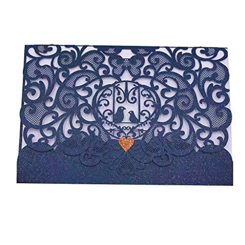 JinSu 10PCs Bleu Marin Faire-Part de Mariage, Laser Cut Invites Mariage avec Feuilles Intérieures, Enveloppes et Ruban pour Marriage, Anniversaire, Célébrations