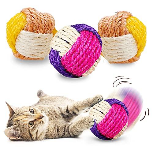Katze Sisal Ball,3 pcs Sisal Seilball,Umweltfreundliche Kätzchen Bälle,Kätzchen Spielzeug Bälle,Interaktiver Sisalball,Spielzeug Kätzchen Kugel Bälle,Moosgummibälle,Katzenspielzeug Sisalball