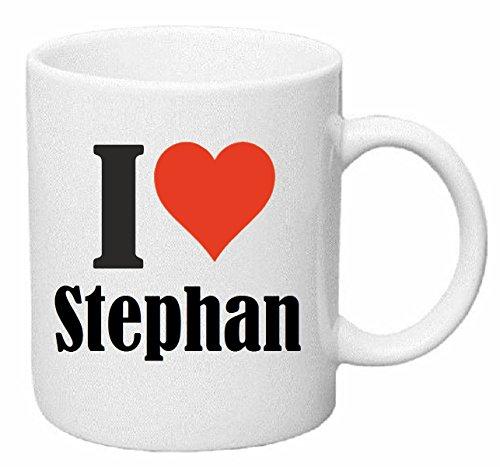 Reifen-Markt Kaffeetasse I Love Stephan Keramik Höhe 9,5cm ? 8cm in Weiß