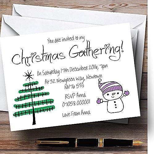 oferta especial Invitaciones para fiesta de Navidad, personalizables, diseño de muñeco muñeco muñeco de nieve y árbol de Navidad  Compra calidad 100% autentica