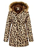 GRACE KARIN Mujer Abrigo Chaqueta Parka Militar Anorak Acolchado Largos Leopardo XL CLAF1030-8