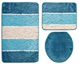 Ilkadim Orion Badgarnitur 3 TLG. Set 50x80 cm Mehrfarbig gestreift, WC Vorleger ohne Ausschnitt für Hänge-WC (Petrol türkis Creme)