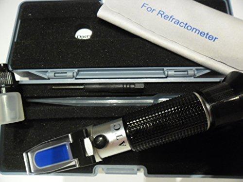 Rifrattometro ATC Brix, per misurare contenuto di zuccheri, 0 – 32%, SG 1000-1130, per mosto d'uva, bevande concentrate, birra, con liquido di calibrazione 3012