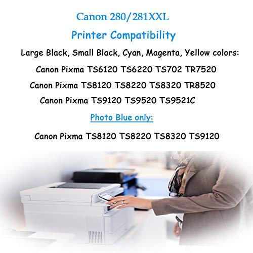 ONEINK Compatible Ink Cartridge Replacement for Canon 280 281 XXL PGI-280XXL CLI-281XXL PGI280 CLI281 for Printer PIXMA TS6120 TS6220 TS702 TR7520 TS8120 TS8220, 5 Packs(1PGBK, 1B, 1C, 1M, 1Y)… Photo #7