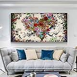 Lienzo Pintura Corazón colorido Flores Carteles e impresiones Arte de la pared Imágenes para la sala de estar Decoración del hogar Sin marco