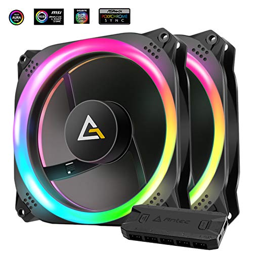 Antec Prizm 140mm Adressierbarer RGB Gehäuse Ventilator 2er Pack mit Kontrolle Büchse