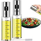 Mgee Pulverizador Aceite Spray, Dispensador de Aceite de Oliva, Aceitera Rociador de Vinagre con Cepillo para Cocinar, Asar, Ensalada (100ml,2pcs)