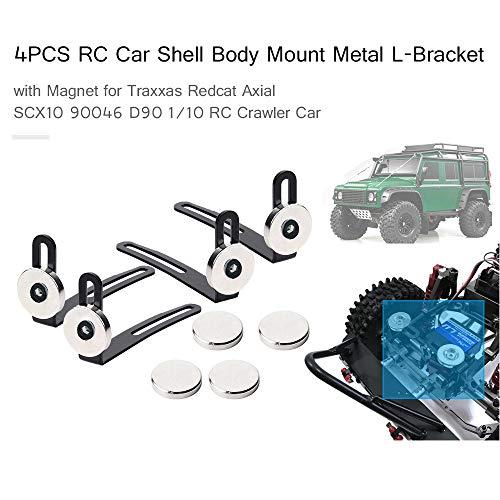 Goolsky 4pcs RC Crawler Shell Karosseriehalter Metall L-Halterung mit Magnet für Traxxas Redcat Axial SCX10 90046 D90 1/10 RC Auto