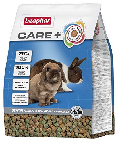 BEAPHAR – CARE+ – Alimentation Super Premium pour lapin sénior – 25% de fibres, Oméga 3 & 6 – Faible en glucides & matières grasses – Haute digestibilité – Usure naturelle de dents – 1,5 kg