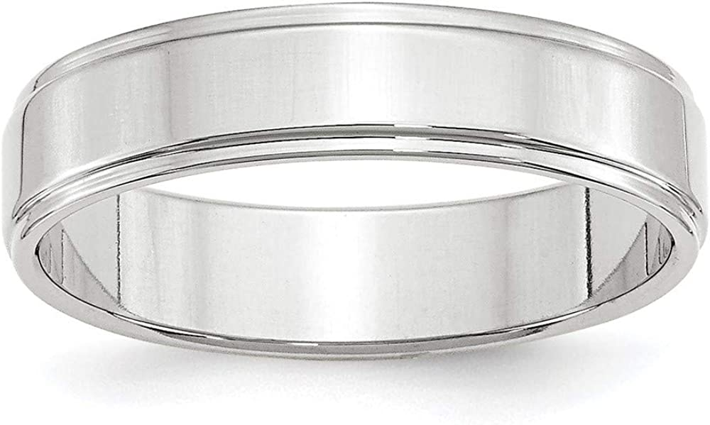 10 White Gold 5mm Flat Step Edge Wedding Ring Band Size 8.5 Classic Down Fashion Jewelry For Women Gifts For Her