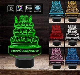 Lampada led 7 colori torta BUON COMPLEANNO personalizzata con numero AUGURI a batteria + cavo micro USB da tavolo o scriva...