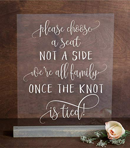 Chic Choose Seat Not Side All Family Knot Tied Personalised Wedding Sign