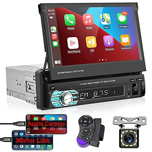 Podofo Autoradio 1 DIN Compatibile con Apple Carplay e Android Auto Lettore MP5 per Auto Touchscreen da 7 Pollici con vivavoce Bluetooth, Ricevitore Radio FM con Mirror Link, Ingresso USB AUX SD