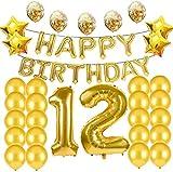 Suministros de decoración para fiesta de 12 cumpleaños, globos dorados, globos de Mylar número 12, globos de látex, gran regalo de cumpleaños para niñas, accesorios de fotos