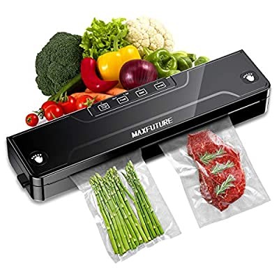 M MAXFUTURE Vaccum Sealer Machine, Automatic Food Saver Vacuum Sealer Machine with Air Sealing System/Starter Kit/Dry & Moist Modes/Food Sealer with Bags(15 Pack Bags)/Led Indicator Lights