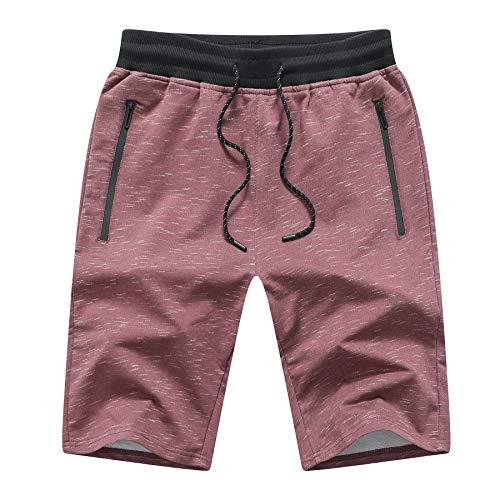 JustSun Sport Shorts Herren Kurze Hose Sommer beiläufig Baumwolle Sweat Shorts mit Reißverschlusstaschen und Elastische Taille Rotwein X-Large