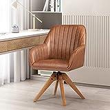 Giantex elegante silla giratoria para oficina en casa, sin ruedas pero giratoria, patas de madera maciza, almohadillas de fieltro para los pies, elegante silla decorativa, sillón de comedor de cuero PU, linda silla de escritorio para espacios pequeños, sala de estar