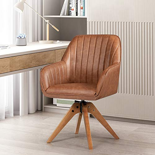 Giantex Stylish Swivel Home Office Chair, No Wheels but Swivel, Solid Wood Legs, Felt Foot Pads, Classy Accent Chair, PU Leather Dining Armchair, Cute Writing Desk Chair for Small Space, Living Room