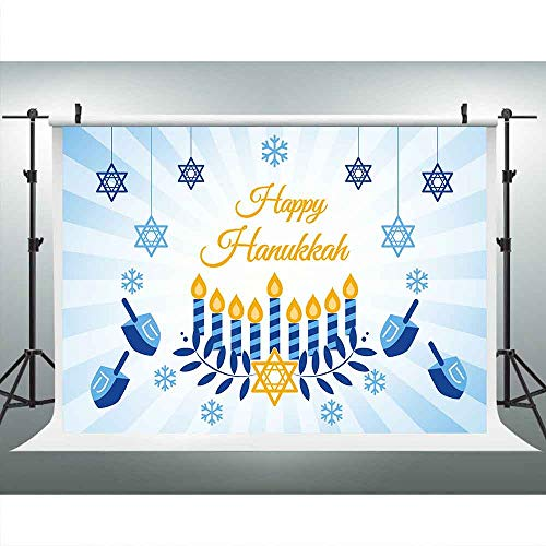 Happy Hanukkah Banner Chanukah Decorations Backdrops for Party Photography, Israel Hebrew Menorah Blue Shiny Lamps Chanukah Festive Stripes Decor Background, Photo Booth Picture Props DSLU547