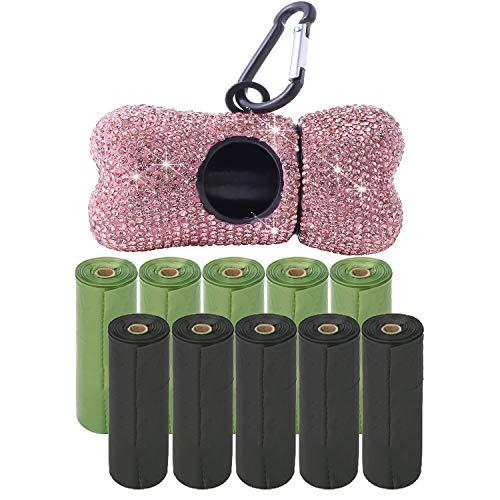 Supporto per borsa per cacca di cane Bling con 150 sacchetti per rifiuti di cacca di cane BONUS e moschettone in metallo, Dispenser di guinzaglio per borsa con strass Bling per cagnolino. ( Rosa )