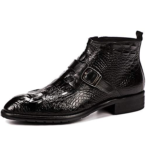 PLIFOF Herren Lederschuhe Krokodilleder Stiefel. Martin Stiefel Spitze Stiefel Kurze Stiefel Chelsea Stiefel Black-37