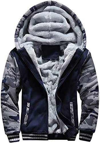 MACHLAB Men s Pullover Winter Workout Fleece Hoodie Jackets Full Zip Wool Warm Thick Coats Dark product image