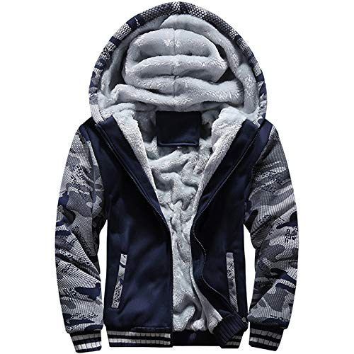 MACHLAB Men s Pullover Winter Workout Fleece Hoodie Jackets Full Zip Wool Warm Thick Coats Dark Blue#63 XL