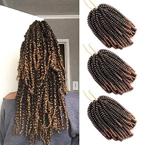 3 Paquetes Spring Twist Pelo sintético Ombre colores Trenzas de ganchillo Trenzas sintéticas Extensiones de cabello Negro a marrón (T1B / 27)
