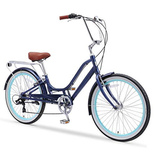 "sixthreezero Relaxed Body 7-Speed Recumbent Comfort Bike, 26"" Wheels/ 13"" Frame, Navy Blue with Brown Seat and Grips"