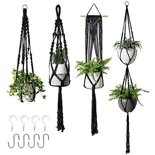 POTEY 640102 Macrame Plant Hangers - Hanging Planter Indoor Outdoor Flower Pots...