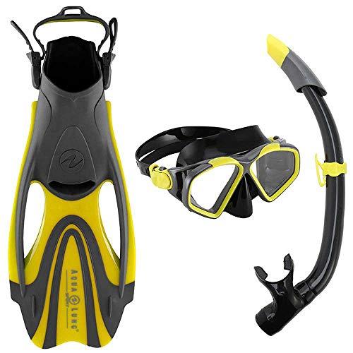 Aqua Lung Schnorchelset Hawkeye für Erwachsene | Maske + Schnorchel + Flossen | Größe 40-44 | gelb-grau
